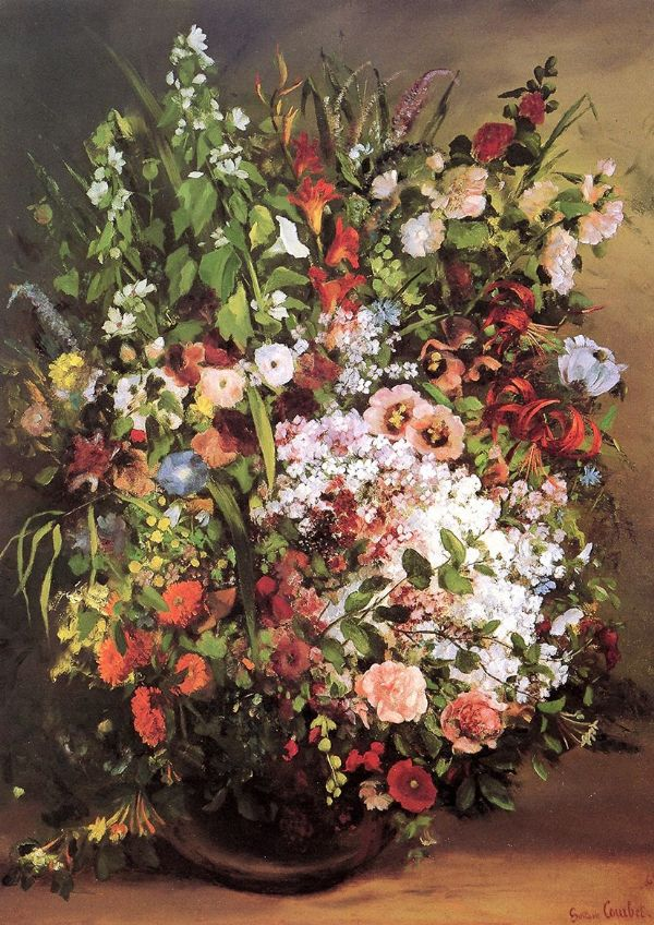 Courbet, Gustave: Flowers in a Vase. Floral Fine Art Print/Poster. Sizes: A4/A3/A2/A1 (001040)